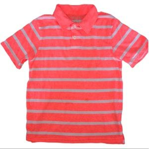 5/$25 🔴 Boys' Orange Neon Striped Soft Polo
